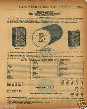 1920 PAPER AD French Car Auto Motor Oil Pennsylvania Parafine Gallon Can Moco