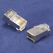 100pc RJ45 Cat5E SHIELDED Connector 50 micron 3 prong