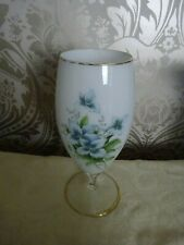 Vintage Retro Glass Footed Oversize Glass White Blue Floral 27cm tall