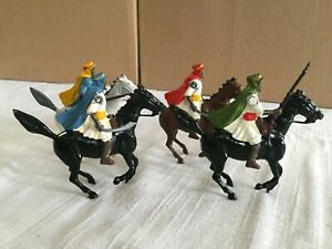 Britains 4 Arabs on Horseback, very colorful, Red, Blue, Yellow and Green, Lead