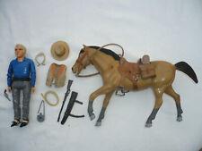 PALITOY Bonanza 20cm Cowboy Action Figur BEN CARTWRIGHT MIT PFERD