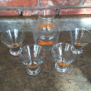 Kahlua Carafe & Set of 4 Exotic Cocktail Glasses Cone Shaped w/Weighted Bottom