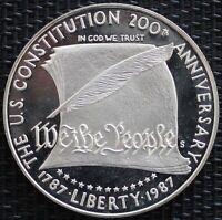USA ONE DOLLAR 200 ANS DE LA CONSTITUTION AMÉRICAINE 1987 ARGENT