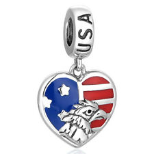 United States Heart Flag Pendant Charm - 925 Sterling Silver - European Charm