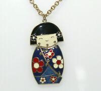 Vintage Goldtone Blue Red White Black Enameled Geisha Girl Pendant Necklace J2