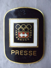 1964 Winter Olympics Press Presse Enamel Badge