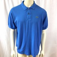 Lacoste Mens Solid Blue Short Sleeve 100% Cotton Polo Shirt Size 7