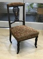 Antique Prayer Chair Bedroom Marquetry Victorian Red Velvet Nursing Upholstery