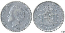 España 5 pesetas 1893 (*18*93) PGV Ag MBC / VF Alfonso XIII 00149