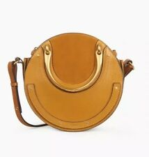 Unused, Chloé Pixie Small Leather Round Suede Circle Bag Mustard Brown Receipt
