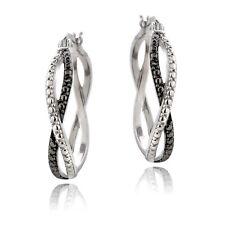 925 Silver Black Diamond Accent Twisted Hoop Earrings