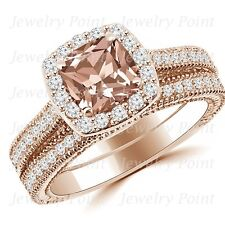Cushion Peach Pink Morganite Diamond Halo Engagement Wedding Ring Set Rose Gold