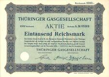 Aktie Thüringer Gasgesellschaft 1000 RM 1924 Leipzig