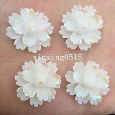 NEW DIY 6pcs 25mm AB Resin 3d flower Flatback Rhinestone Wedding buttons crafts