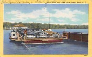 Bemus Point Stowe Ferry Boat Cars New York 1950 linen postcard