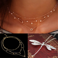 Novelty 925 Silver Wedding Party Dragonfly Necklace Pendant Chain Jewelry Gift