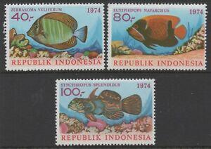 Indonesia 1974 Fish Series 4 set of 3 MUH