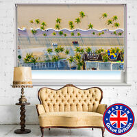 Aerial Beach Road Tropical Printed Window Roller Blind Cordless Remote Blackout