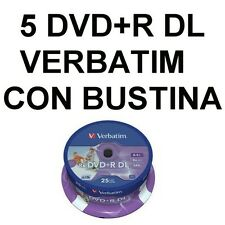 5 DVD + R DL Dual Layer Verbatim 8,5 GB 8,5gb Virgin Empty with bags with flap