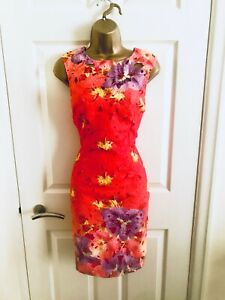 LIPSY Orange Floral Evening Party Occasion Races Sexy Mini Wiggle Dress £65 10