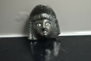 Roman Bronze Theatre Actor Mask Mount with Glass Inlaid Eyes   2nd-3rd A.D