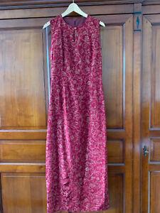 Kleid chinesisches Muster bordeaux lang ärmellos Etam Größe M gefüttert
