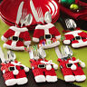 6Pcs Traje De Papá Noel Navidad Cubiertos Cubertería Decoración Para Mesa