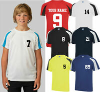 Personalised Kids Contrast Sport T-Shirt, PE Gym Name Number Team Football Tops
