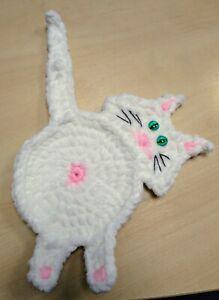 Fluffy Cat Bum ( Butt ) Coaster - Crochet & Handmade - Great Present / Gift