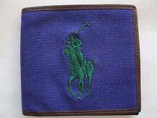 NWT Polo Ralph Lauren Men's Canvas Big Pony Bifold Wallet Squire Purple