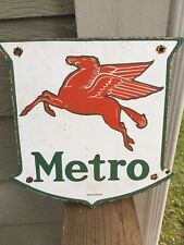 "Mobil Oil Pegasus ""Metro"" rare and vintage porcelain gas pump sign"