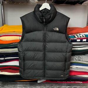 The North Face 700 Nuptse Ski Down Feather Gilet Vest Jacket, Black Grey Medium