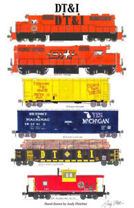"Detroit Toledo & Ironton Train 11""x17"" Poster by Andy Fletcher signed"