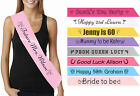 Personalised sash custom printed hen night do bride 18th 21st birthday sashes