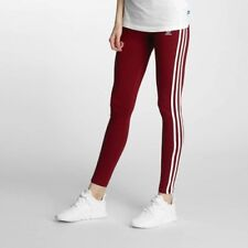 Adidas Originals W 3-Stripes Burgundy Leggings Size UK 6, 8, 10, 12 New (746)