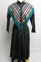 Circle T Women Vintage Dress Sz 5/6 USA Made Black Striped Western Cowgirl Rodeo