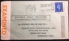 1941 London England Censored Business Reply Cover To Greenwich Ct Usa