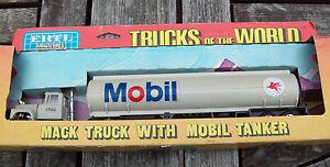"ERTL #1443 ""TRUCKS OF THE WORLD"" R MACK MOBIL TANKER TRUCK, DIECAST, VGC"