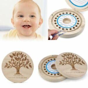 English Baby Tooth Box organizer for baby Milk teeth Save Wood storage ooth Box