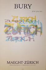 BURY Pol Affiche Lithographie Signée surréaliste Zurich cinetisation art 1974