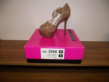 RIVER ISLAND Killer Heels Platform Leather Peep Toe T Bar Shoes UK 4 BNWB RP £75
