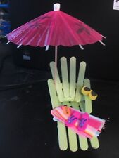 BEACH LOUNGE CHAIR CAKE TOPPER - Umbrella, Towel, Flip Flops, Sunglasses, Lotion