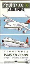 Airline Timetable - Manx - 23/10/88 - Ed 1 - BAe 146 / ATP Cover Design - S
