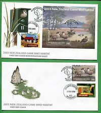 2003 NEW ZEALAND First Day Cover X2 Game Bird Habitat W/ Minisheet & Cachet -BBB