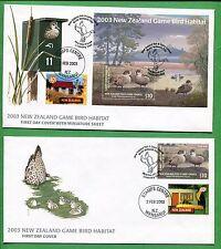 2003 NEW ZEALAND First Day Cover X2 Game Bird Habitat W/ Minisheet & Cachet -BBB