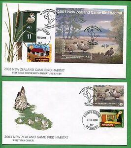 2003 Nouvelle-Zélande Premier Jour Housse X2 Jeu Oiseau Habitat W / Mini Feuille