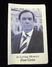 30 Rock Don Geiss Funeral Prop program set used Rip Torn THIRTY NBC Memoribilia