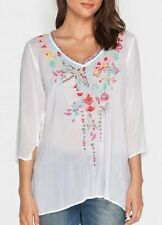 $212 JOHNNY WAS EMBROIDERED DRAGONFLY BLOUSE TUNIC TOP WHITE SZ L WT