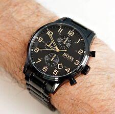 Hugo Boss 1513275 AEROLINER Chronograph Herrenuhr  Schwarz/Gold NEU!