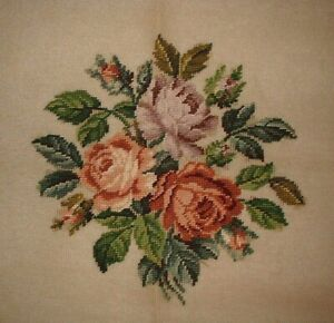 Large Bucilla Cabbage Rose Bouquet Floral Preworked Needlepoint Canvas MC